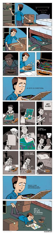 ZEN PENCILS - Cartoon quotes from inspirational folks. This quote is from Vincent Van Gogh. :) Keep Drawing! Diy Poster, Cartoon Quotes, Comics Story, Cute Stories, Short Comics, Faith In Humanity, Vincent Van Gogh, Funny Comics, Read Comics