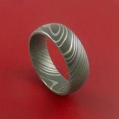 Damascus Steel Ring Acid Finish Genuine Craftsmanship Band