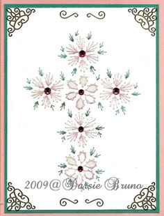 Floral Easter Cross Paper Embroidery Pattern for Greeting Cards