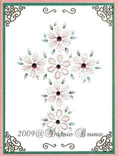 Flores Santa Cruz patrón de bordado de papel para tarjetas de