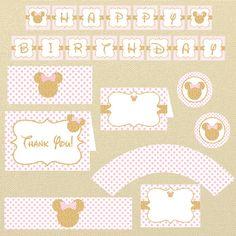 Oro Minnie Mouse cumpleaños rosa y oro Minnie por MiPartyDesigns