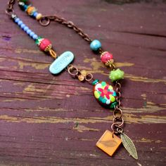 Colorful Beaded Statement Necklace Boho Jewelry Bird by ThreeTrees, $37.00