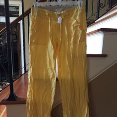 Linen pants Yellow in color. NWT. Size small. Paid $58.00 Love Tree Pants Wide Leg
