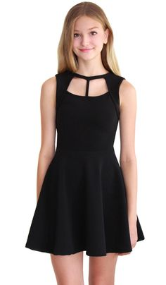 Stretch mini ottoman skater dress with cut out neck Junior sizes XS, S & M Details & Care Machine Wash Cold with Like Colors, Do Not Bleach, Tumble Dry Low Save Girls Dresses Tween, Preteen Girls Fashion, Cute Girl Dresses, Pretty Dresses, Girl Fashion, Dance Outfits, Dress Outfits, Casual Dresses, Short Dresses