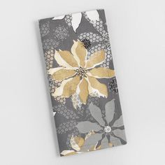 World Market Gray and Gold Poinsettia Napkins Set of 4