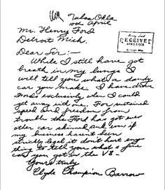 A thank you letter from Clyde Barrow. Click to see more thank yous from famous people.