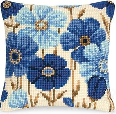 Cross Stitch Kits Blue Blossoms Pillow Top - Cross Stitch, Needlepoint, Embroidery Kits – Tools and Supplies Needlepoint Pillows, Needlepoint Stitches, Needlepoint Kits, Needlework, Needlepoint Designs, Cross Stitch Designs, Cross Stitch Patterns, Cross Stitch Embroidery, Embroidery Patterns