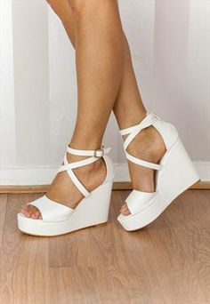 White faux leather criss-cross platform wedge sandal (JOSE) from Chockers Shoes