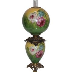 """Museum Quality ~LARGE Gone with the Wind Oil Lamp ~11"""" SHADE~Masterpiece Breathtaking BEAUTY WITH HAND PAINTED ROSES ~ Outstanding Fancy Ornate Font Spill Ring and Base~ Original Condition ~Original Parts ~ Collector Piece ~ Master Artistry"""