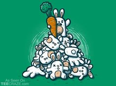 The Bunny Rises T-Shirt - http://teecraze.com/the-bunny-rises-t-shirt/ - Designed by Wirdou #tshirt #tee #art #fashion #clothing #apparel