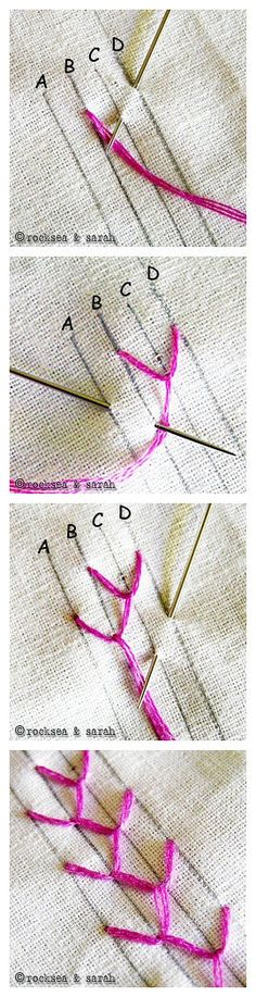 EMBROIDERY – CROSS-STITCH / BORDERIE / BORDUURWERK - Feather stitch