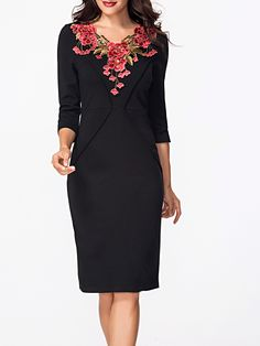 Cheap V Neck Half Sleeve Floral Embroidery Bodycon Dress Online Cheap Dresses Online, Party Dresses Online, Vestidos Vintage, Vintage Dresses, Floral Dresses, Embroidery Dress, Floral Embroidery, Office Party Dress, Super Cute Dresses