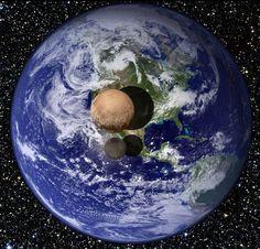 Так выглядит Плутон и его спутник Харон на фоне нашей Земли. Фото: Твиттер NASA
