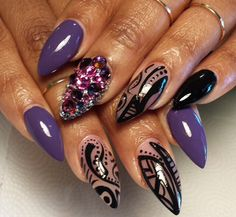 Nailspiration: Purple and black