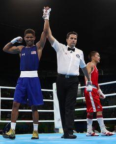 RIO DE JANEIRO, BRAZIL - AUGUST 16: Shakur Stevenson (L) of the United States celebrates his victory over Tsendbaatar Erdenebat of Mongolia in the boxing Men's Bantam (56kg) Quarterfinal 2 on Day 11 of the Rio 2016 Olympic Games at Riocentro on August 16, 2016 in Rio de Janeiro, Brazil.  (2898×3576)