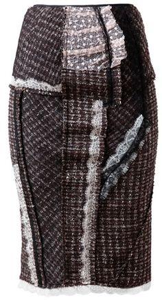 NINA RICCI Tweed Pencil Skirt with Lace Detail
