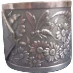 Aesthetic Napkin Ring Silverplate Fly Flowers Dragonfly Victorian Style Offered by Saltymaggie's Treasures on Ruby Lane