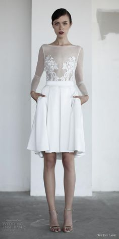 oui the label 2017 bridal long sleeves bateau neck sheer heavily embellished bodice romantic above the knee short wedding dress with pockets open v back (2) mv -- OUI The Label 2017 Wedding Dresses