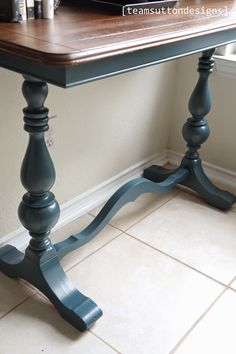 Console table using Fusion Mineral Paint- This paint is amazing! This is homestead blue. Refurbished Furniture, Paint Furniture, Repurposed Furniture, Furniture Projects, Furniture Makeover, Furniture Design, Furniture Refinishing, Furniture Plans, Western Furniture
