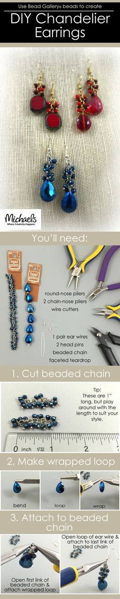Use Bead Gallery beads to create these DIY Chandelier Earrings in just a few easy steps.
