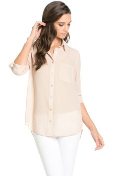 Roll Up Sleeve Button Down Beige Chiffon Blouse