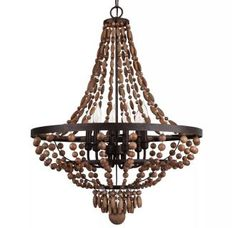 """View the Park Harbor PHHL6246 Casa Maya 25"""" Wide 6 Light Single Tier Empire Style Chandelier with Wood Bead Accents at LightingDirect.com."""