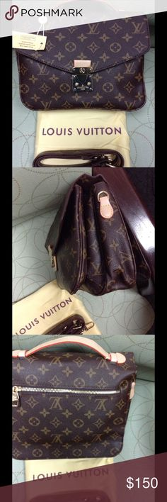 Fashion handbag NWT New never used pochette Metis fashion bag with short cowhide leather handle and trim. Also includes long adjustable removable strap for cross body or shoulder handle. Exterior back zipper pocket. 3 interior compartments, red microfiber lining. Louis Vuitton Bags