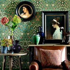 Living room with traditional wallpaper A classic William Morris wallpaper is perfect for creating a timeless look in your home. Choose deep, rich shades for added warmth.