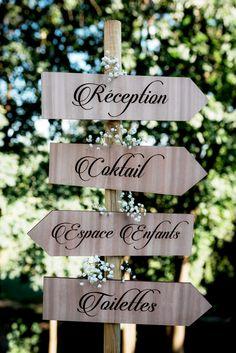 Panneau de signalisation pour mariage - pancarte en bois, panneau d'indication pour cérémonie, réception