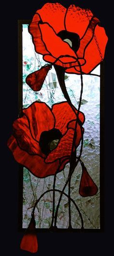 Teresa Seaton - Double Red Poppies                                                                                                                                                                                 More #StainedGlassPatterns