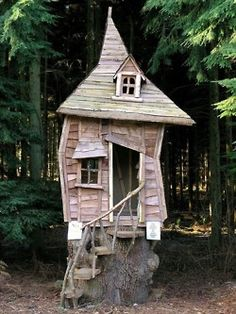 If Mr. Rogers and Baba Yaga got married their house would look like this and their kids would be entertained and frightened!