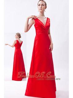 9520e88e4d0 Red Column V-neck Floor-length Taffeta Ruch Bridesmaid Dress-  119.59 https