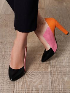 pumps with black, pink & orange balenciaga Look Fashion, Fashion Shoes, Womens Fashion, Girl Fashion, Crazy Shoes, Me Too Shoes, Weird Shoes, Mode Shoes, Do It Yourself Fashion
