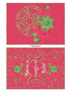 Magical Yule Quick Card - Celebrate the winter solstice with this enchanting card featuring a poinsettia festooned pentacle on the cover and the triple moon goddess symbol inside.  Art by Hafapea & JanP #CardMakingKits #CraftsUPrint #LisaMayette #Hafapea