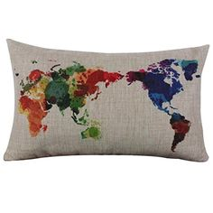 Pillowcase, Ammazona World Map Linen Throw Flax Pillow Case Decorative Pillow Cushion Cover