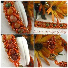 Just listed!  Burnt Orange Peach Green flat spiral Handmade beaded bangle bracelet | jazzitupwithdesignsbynancy - Jewelry on ArtFire