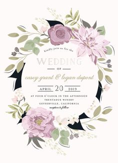 Pink, purple, and green floral wreath wedding invitation design available on Minted.com. Outdoor wedding invitation. By Minted artist, Susan Moyal.