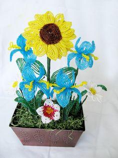 Summer bouquet - sunflowers, iris