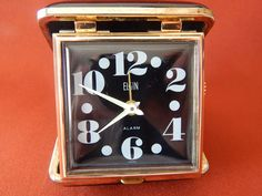 Vintage Elgin Travel Alarm Clock 1950's by AlwaysPlanBVintage on Etsy