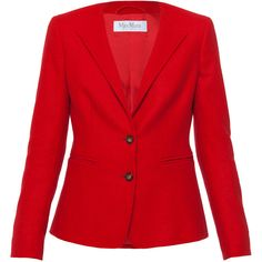 MaxMara Curt Red Cashmere Blazer ($1,390) ❤ liked on Polyvore featuring outerwear, jackets, blazers, red, red jacket, slim fit jacket, red slim fit blazer, long sleeve jacket and slim fit blazer