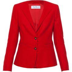 MaxMara Curt Red Cashmere Blazer ($1,390) ❤ liked on Polyvore featuring outerwear, jackets, blazers, blazer, red, slim fit blazer, long sleeve blazer, maxmara, red slim fit blazer and slim jacket