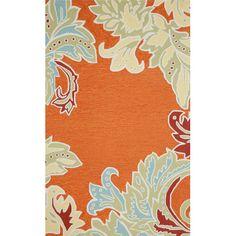 Trans-Ocean Rug Ravella Ornamental Leaf Border Orange Indoor/Outdoor Area Rug