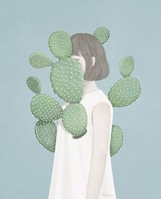 Beautiful Artwork by Korean illustrator / Artist Mi-Kyung Choi, a. Ensue // I love drawing lovely women and girls in pastel tones, so these awe-inspiring digital paintings by illustrator Ensee really captured my attention Illustration Mode, Cactus Illustration, Art Design, Art Inspo, Art Girl, Collages, Line Art, Art Drawings, Art Photography