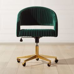 Shop Channel Green Velvet Office Chair. It's all happening – your to-do list, that is. Designed by Mark Daniel of Slate Design, rich dark green velvet office chair with pleated channels sits atop brushed brass base. Gas lift and casters make it easy to adjust height and placement.