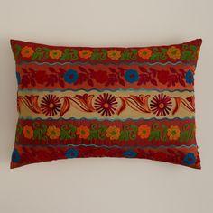 Red Stripe Boho Lumbar Pillow | World Market