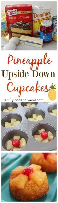 Pineapple Upside Down Cupcakes are an amazing portion controlled version of our favorite cake! | Pineapple Upside Down Cake | Cake Mix Hacks | Cupcake Recipe