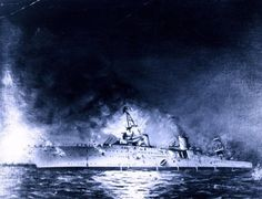 Sinking of USS Houston in the Battle of Sunda Strait, 1 March Painting by Joseph Fleischman, Naval History and Heritage Command Photo Uss Houston, Galloping Ghost, Nightmare Night, Heavy Cruiser, Us Navy Ships, Dutch East Indies, Naval History, Military Art, Battleship