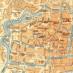 1938 Leeuwarden City Map Street Plan Netherlands Lithograph Friesland