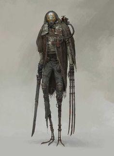 ArtStation - xiaodi jin Strange, but has some steampunk vibe. Cyberpunk, Character Concept, Character Art, Concept Art, Monster Design, Monster Art, Dark Fantasy, Fantasy Art, Arte Ninja