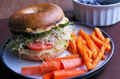 Double Hummus Sandwich with Sweet Potato Fries - I want to eat this RIGHT NOW so bad! Hummus Sandwich, Veggie Sandwich, Vegan Sandwiches, Veggie Burgers, Sandwich Recipes, Veggie Recipes, Whole Food Recipes, Vegetarian Recipes, Veggie Meals